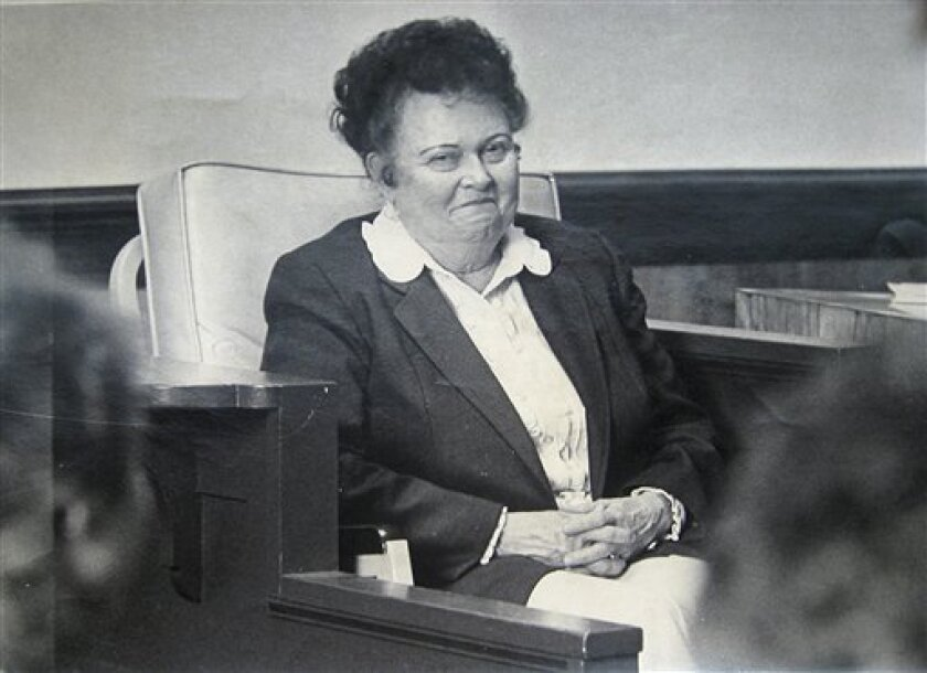 This 1982 file photo shows madam Ruby Garrett during the trial of two men charged with robbing her brothel in Butte, Mont. Garrett, who ran the last brothel standing in the mining town's once-lively red-light district, died Saturday March 17, 2012. She was 94. (AP Photo/The Montana Standard, Walter