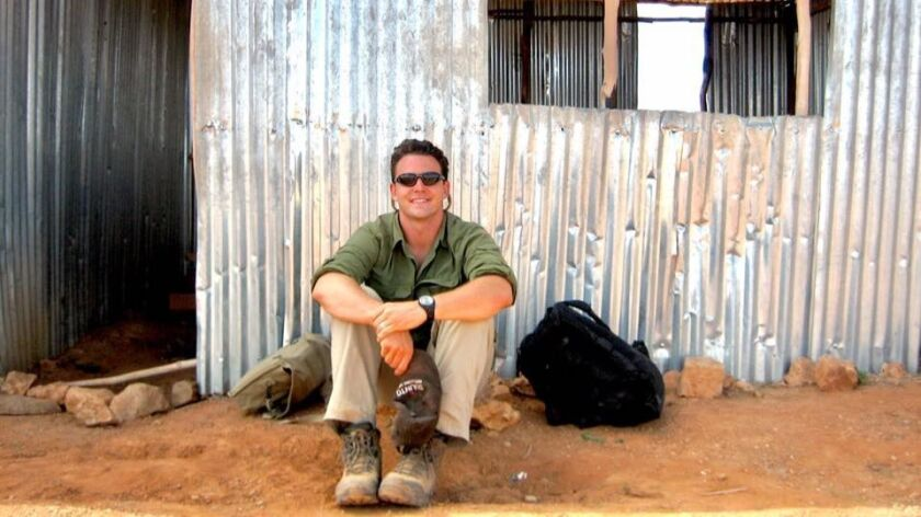 Marine Corps veteran Nathan Fletcher sits in front of the Kebri Dehar airport in eastern Ethiopia.