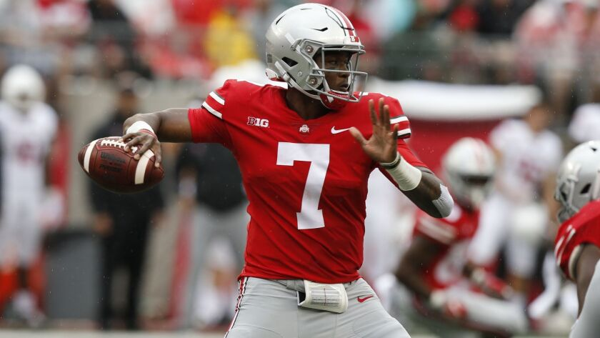 Ohio State quarterback Dwayne Haskins plays against Rutgers during an NCAA college football game Sat