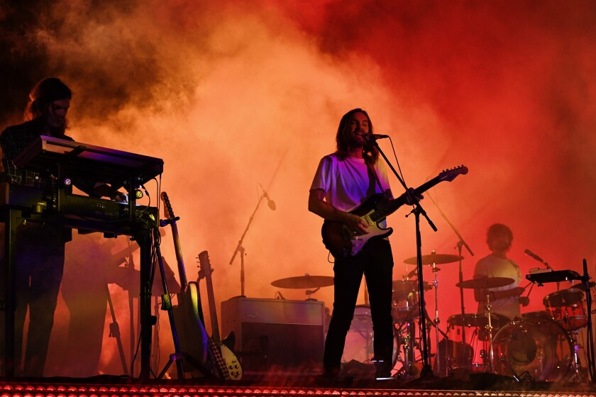 INDIO, CA-April 13, 2019: Tame Impala performs during day 2 at the Coachella Music Festival on the E
