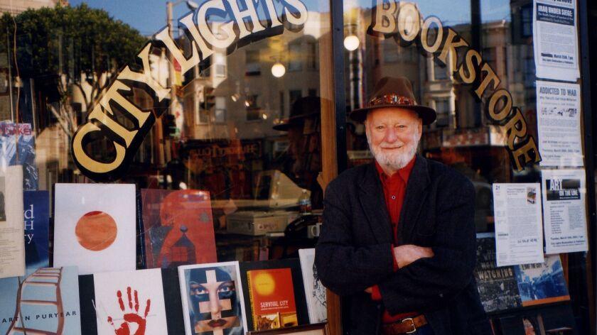 Lawrence Ferlinghetti outside City Lights Bookstore in 2013.