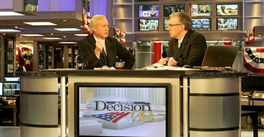 NEWS NIHILISTS: Keith Olbermann, right, and Chris Matthews co-anchored MSNBC's coverage of this year's party caucuses and primaries, with a ham-fisted spin.