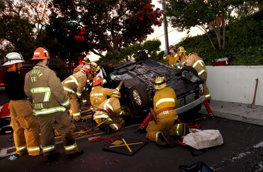 Woman drives car off road, into Burbank church parking lot