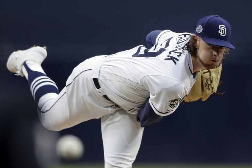 Rookie right-hander Chris Paddack has thrown 65 2/3 innings for the Padres this season. He was sent down to Single-A Lake Elsinore on Wednesday to help limit his workload.
