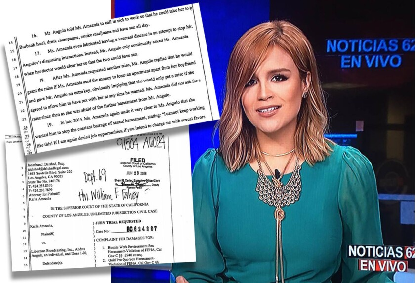 La periodista mexicana Karla Amezola habla de su demanda de acoso sexual contra el vicepresidente de noticias de la cadena Liberman Broadcasting, Inc., Andrés Angulo