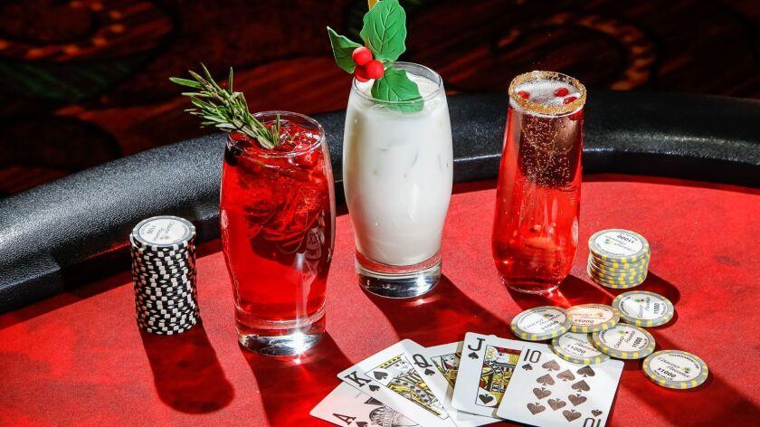 SAN DIEGO, CA October 16th, 2018 | Pauma Casino Drinks: (Left to right) Cranberry-Raspberry Wreath,