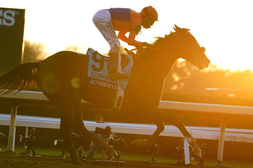 John Velazquez rides Authentic to win the Breeder's Cup Classic horse race.