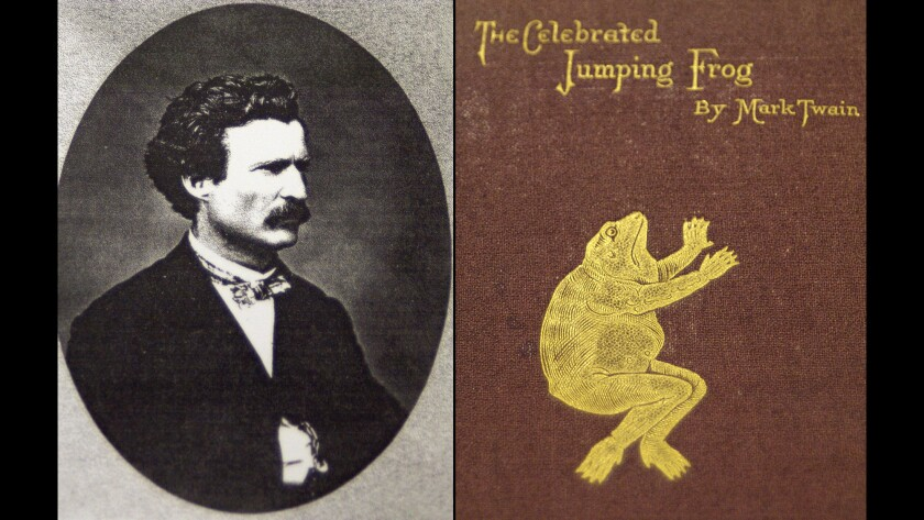 """Photo of Mark Twain in 1865 and a first-edition copy of """"The Celebrated Jumping Frog"""" story that gave Twain his first national success as a writer and humorist."""