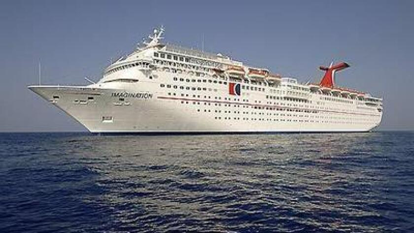 Cruise ship Carnival Imagination on the open sea.