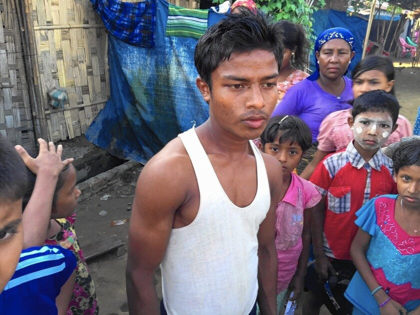 """Mohammed Ayuf, 16, who lives in a displacement camp in Myanmar, says of his attempt to go to Malaysia: """"My mind was just focused on how I could make some money and help the family."""""""