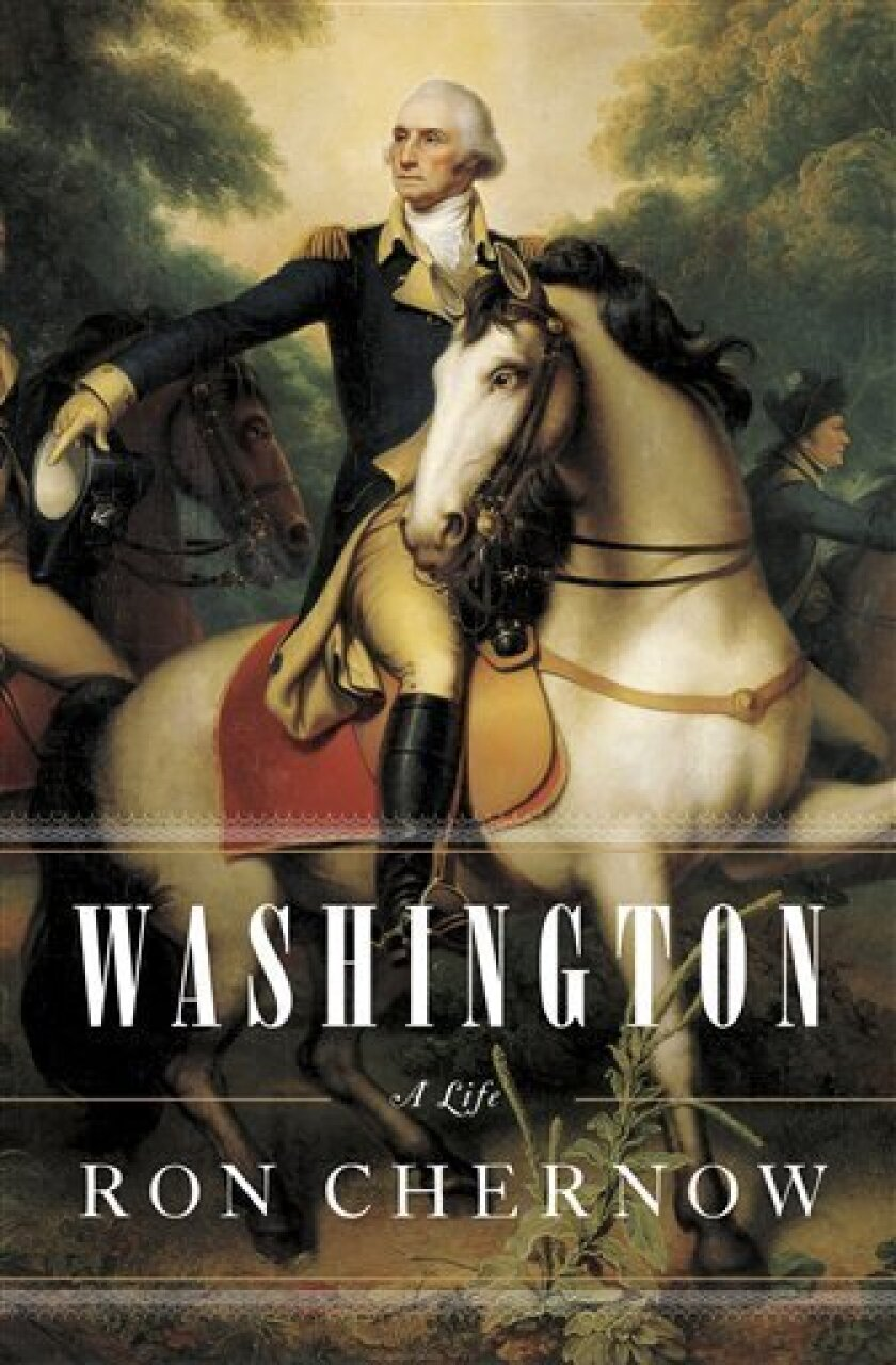 """In this book cover image released by Penguin Press, """"Washington: A Life"""" by Ron Chernow is shown. (AP Photo/Penguin Press)"""