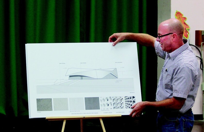 Jim Brown of Public Digital Architects presents revised plans for a single-family residence at 8490 Whale Watch Way in the Shores. Some residents oppose the futuristic design and say it doesn't fit the character of their neighborhood. Brown will repeat his presentation during the La Jolla Community