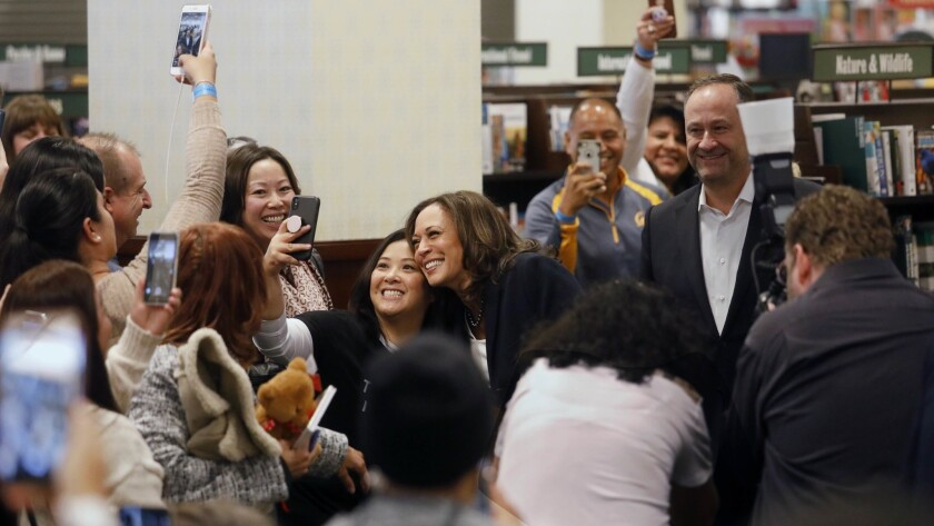 Sen. Kamala Harris of California, who is expected to announce her campaign for president within weeks, promotes her new book at Barnes & Noble at the Grove on Sunday in Los Angeles.
