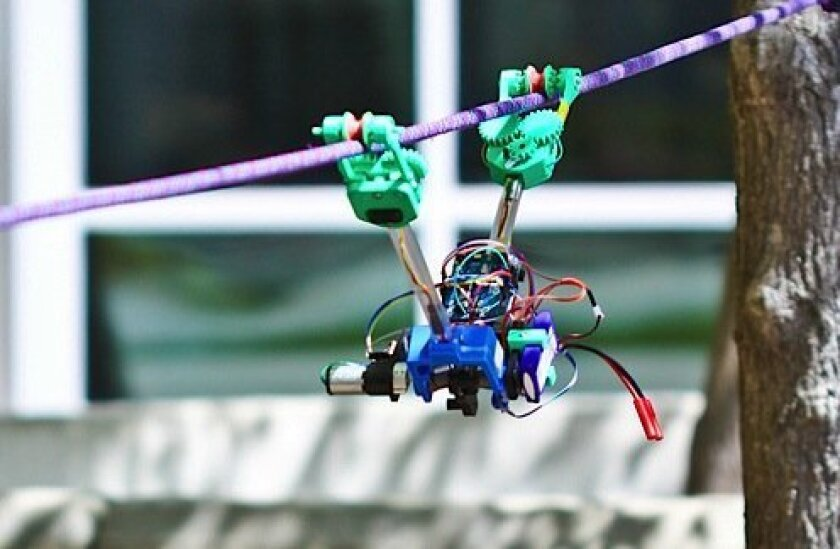 UCSD's SkySweeper robot is designed to find and repair damage on utility lines.