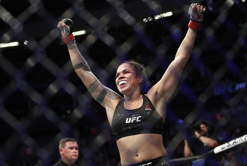 Amanda Nunes reacts after defeating Germaine de Randamie at UFC 245 on Dec. 14, 2019, in Las Vegas.