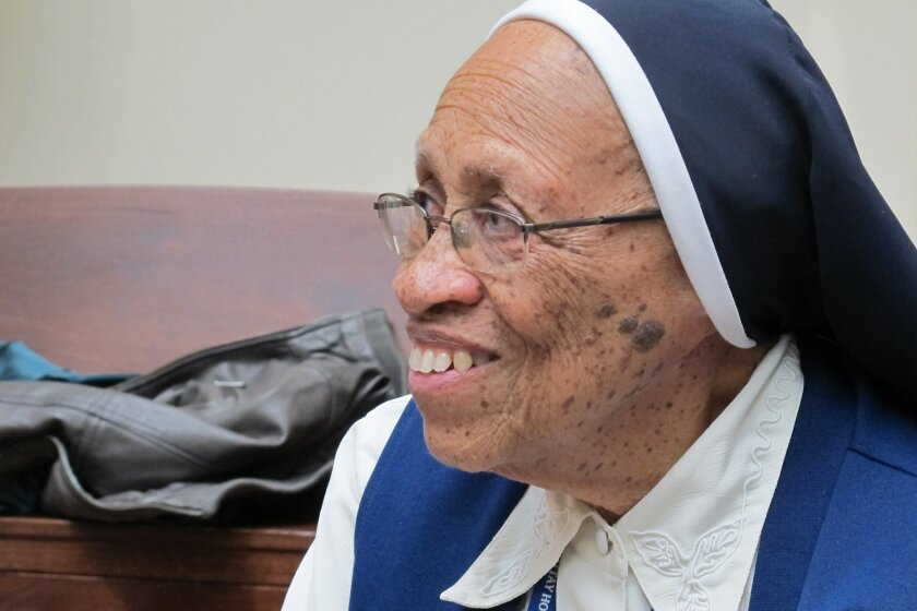 Sister Loretta Theresa Richards, 86, a Roman Catholic nun in need of health care, discusses the decision her order made to close its infirmary and send her and other nuns to Jewish Home Lifecare in the Bronx borough of New York. Three orders of Roman Catholic nuns that traditionally took care of their own aging sisters have sent 58 members to live at the elderly-care complex that was originally a nursing home for Jews. The orders' decision reflects a trend that has left the church in America with more nuns over age 90 than under age 60. (AP Photo/Jim Fitzgerald)