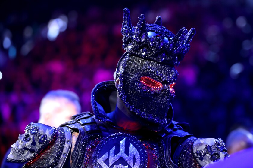 Deontay Wilder enters the ring prior to his heavyweight title defense against Tyson Fury on Feb. 20 in Las Vegas.
