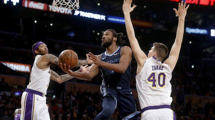 LOS ANGELES, CALIF. -- SUNDAY, DECEMBER 23, 2018: Memphis Grizzlies guard Wayne Selden (7) drives to