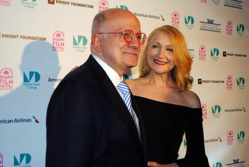 US actress Patricia Clarkson (R) poses with Eduardo Padrón, president of Miami Dade College, during the Miami Film Festival, where she goes to collect the Estrella Damm Precious Gemm award for her artistic career, in Miami, USA, Mar. 4, 2019. EPA-EFE/Antonio Belchi