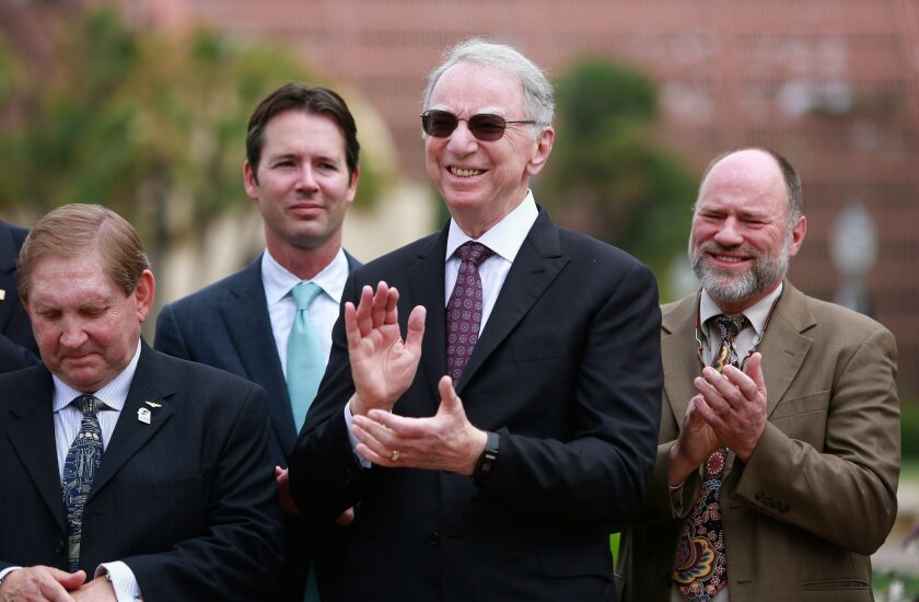 Qualcomm co-founder Irwin Jacobs joins Mayor Kevin Faulconer in announcing plans for a grand restoration of city regional parks. Proposition C, a voter-approved change to the City Charter, directs a portion of Mission Bay annual lease revenue toward capital investment in Mission Bay Park and other regional parks, including Balboa Park.