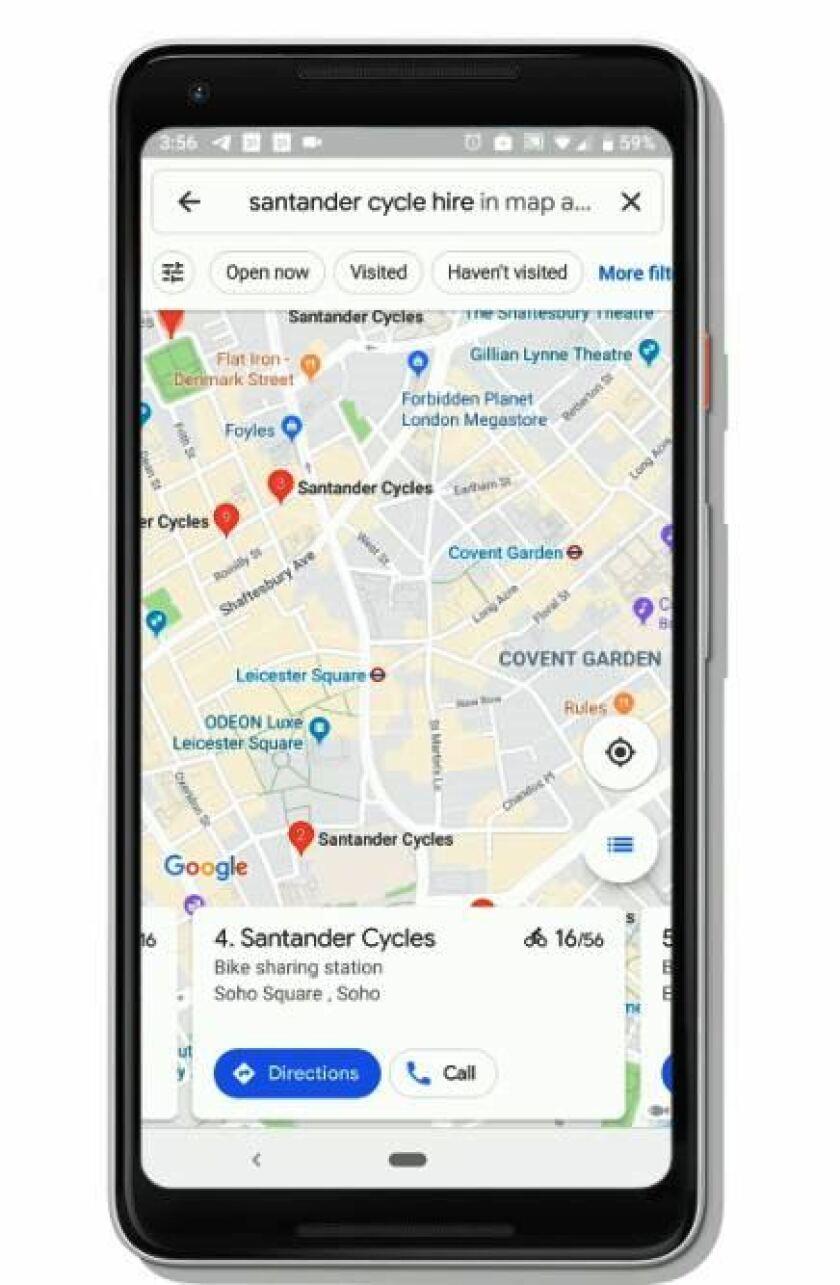 Google maps bike-sharing feature