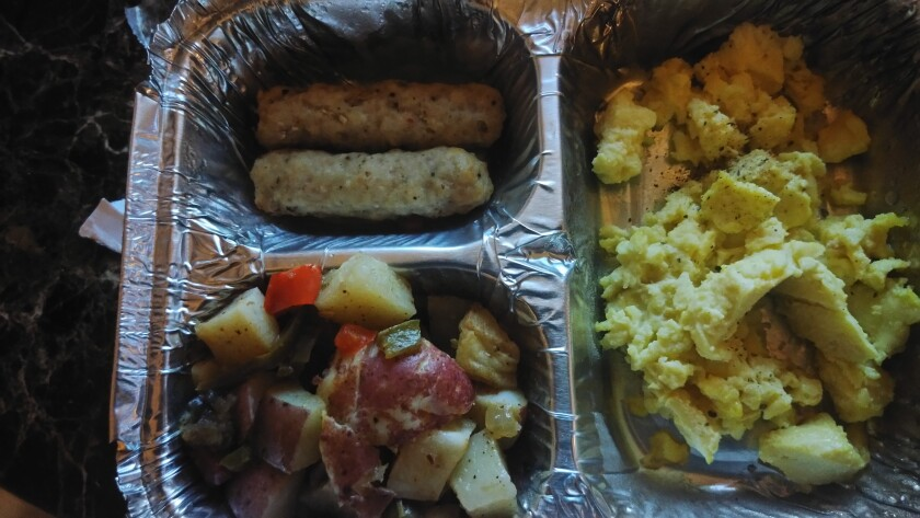 The breakfast that John McGory, an American evacuated from China amid the coronavirus outbreak, was served Thursday.