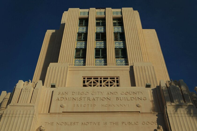 "The motto,""The noblest motive is the public good,"" is displayed on the west side of the San Diego County Administration Center."
