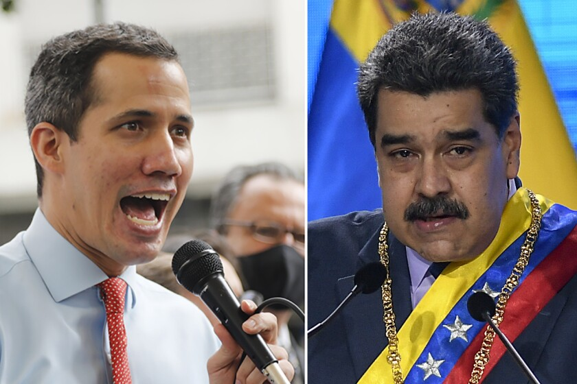 FILES - Juan Guaido, the leader of Venezuela's National Assembly who says he is also the country's interim president, gives a press conference in Caracas, Venezuela on Dec. 7, 2020, left, and Venezuelan President Nicolas Maduro speaks in Caracas, Venezuela on Jan. 22, 2021. The British government sought on July 19, 2021 to prevent Maduro from gaining access to nearly $2 billion of gold held by the Bank of England as the U.K. Supreme Court started hearing a case that hinges on the question of who should be considered the Latin American nation's president. (AP Photo/Ariana Cubillos and Matias Delacroix, File)