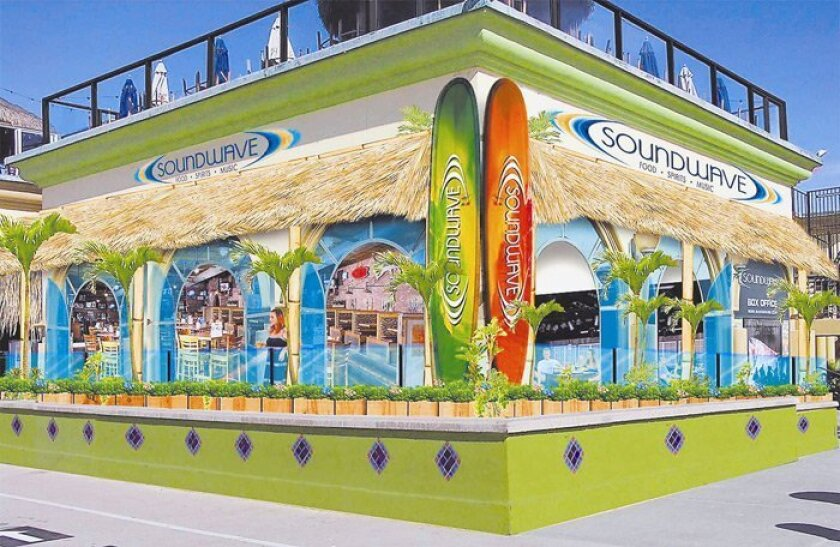 A rendering shows part of WaveHouse's Soundwave, a concert venue opening at the former location of Canes at Belmont Park. Three to four concerts a week are planned for the 700-capacity venue.