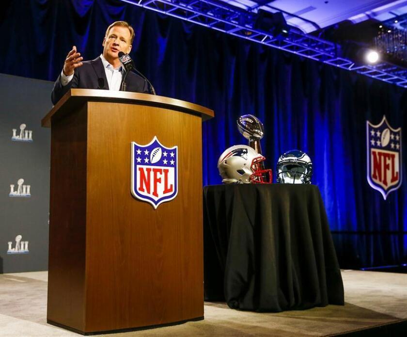 Dos partidos de la NFL podrían jugarse en México en el 2019 tras la cancelación la semana pasada del duelo del fútbol americano entre los Chiefs de Kansas City y los Rams de Los Ángeles, informó este lunes la Secretaría de Turismo (Sectur). El comisionado de la NFL Roger Goodell. EFE/ARCHIVO