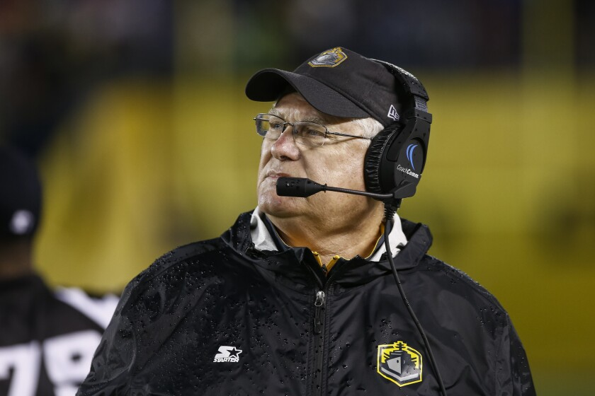 San Diego Fleet head coach Mike Martz looks on during the fourth quarter against the Atlanta Legends.