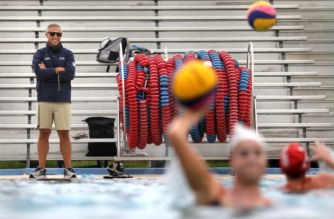 U.S. women's water polo coach Adam Krikorian conducts practice at Joint Forces Training Base in Los Alamitos.
