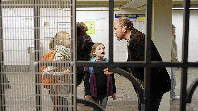 """Hadley Delany, left, as Lilly, Ursula Parker as Jane and Louie C.K. in """"Louie."""""""