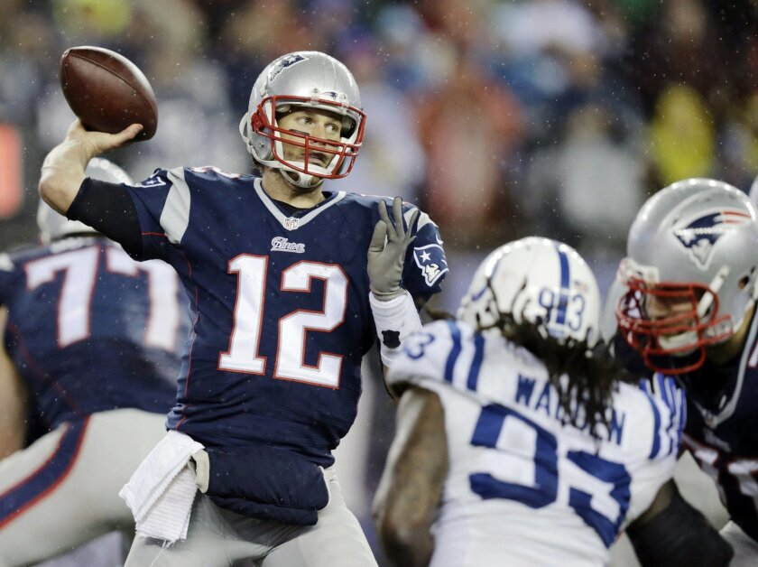 FILE - In this Jan. 18, 2015, file photo, New England Patriots quarterback Tom Brady (12) passes against the Indianapolis Colts during the second half of the NFL football AFC Championship game in Foxborough, Mass. Roger Goodell will hear Tom Brady's appeal of his four-game suspension for his role in the deflated footballs scandal, people with knowledge of the decision tell The Associated Press, Friday, May 22, 2015. (AP Photo/Charles Krupa, File)