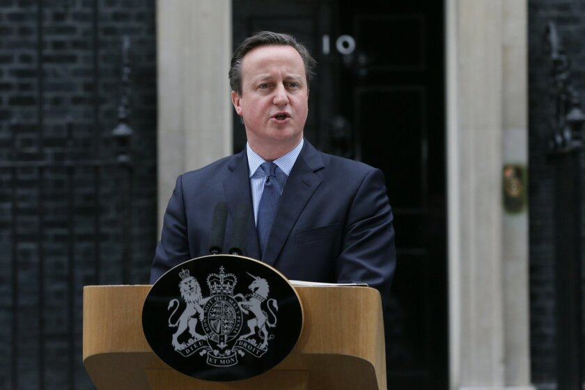 British Prime Minister David Cameron makes a statement outside 10 Downing Street in London, Saturday Feb. 20, 2016. Cameron said Saturday a historic referendum on whether to stay in the European Union will be held on June 23. He spoke in front of 10 Downing Street after winning his Cabinet's agreement to recommend that Britain remain part of the 28-nation bloc rather than strike out on its own. (AP Photo/Tim Ireland)