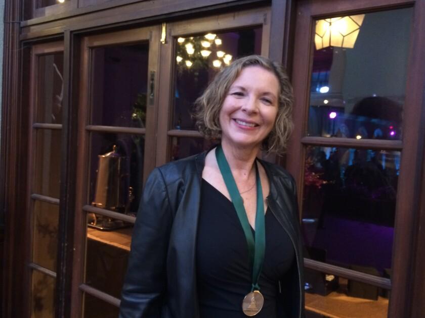 Soprano singer and UC San Diego music professor Susan Narucki with her 2020 Grammy Awards nominee medallion.