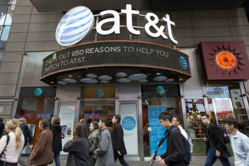 An AT&T retail store in New York. AT&T plans to buy Time Warner for $85.4 billion.