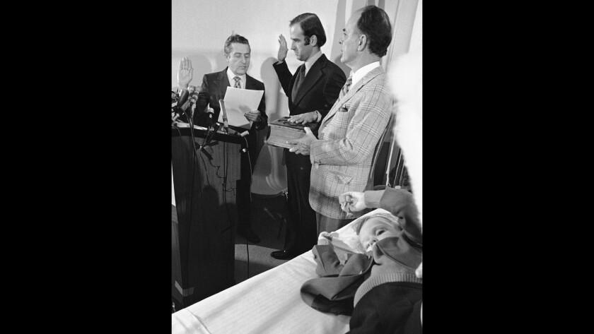 Joe Biden in 1973 sworn in as U.S. senator in a hospital room