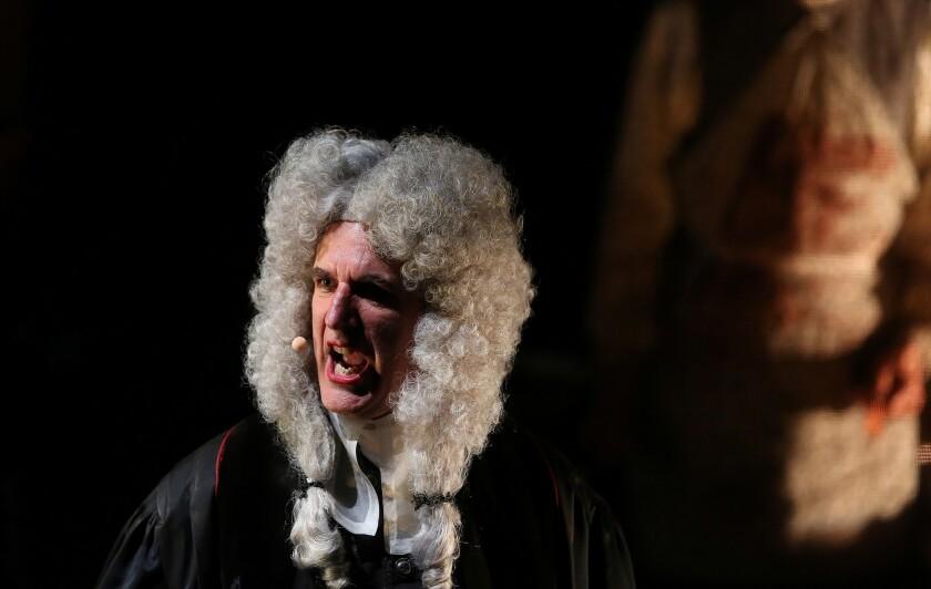 """The sonorous bass Robert Osborne plays the sanctimonious anatomist Baron Peel in """"anatomy theater."""""""