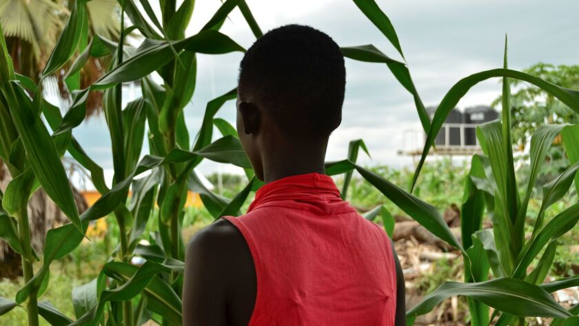 Eliza, 17, stands next to crops in a courtyard in the town of Rumbek, South Sudan, on July 30.
