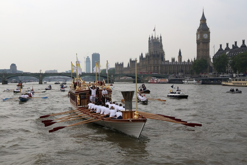 Advertising is expected to reach $486 billion, but down slightly due to the lack of special event programming, such as the Olympics. Pictured here is the Queen's rowbarge Gloriana, which is carrying the Olympic torch along the Thames toward the Opening Ceremony.