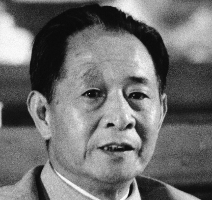 FILE - This Sept. 1982 file photo shows then Chinese Communist Party General Secretary Hu Yaobang. China's ruling Communist Party has issued a collection of speeches and other works by reformist leader Hu, whose death catalyzed the 1989 pro-democracy protest movement that was brutally crushed on Beijing's Tiananmen Square. The edition from the People's Publishing House commemorates Friday's 100th anniversary of Hu's birth and includes works from 1952 to 1986, some of which had never before been published. (AP Photo/File)