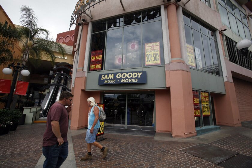 The Sam Goody store in Westfield Horton Plaza downtown San Diego is closing.