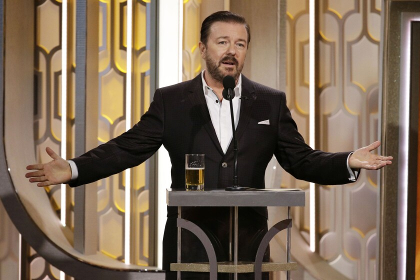 Host Ricky Gervais speaks onstage during the 73rd Golden Globes Awards at the Beverly Hilton Hotel on Jan. 10, 2016, in Beverly Hills, California.
