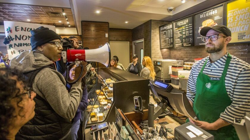 An April protest at a Philadelphia Starbucks where two black men were arrested after being denied bathroom access.