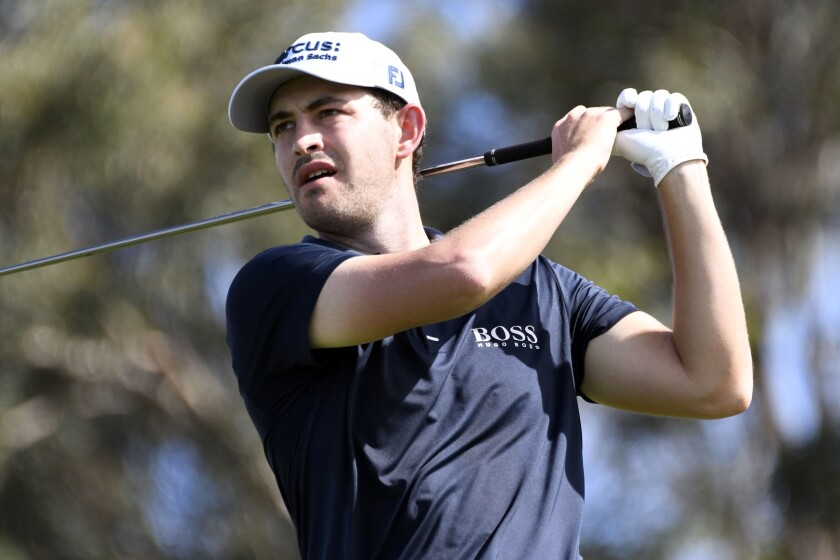 Patrick Cantlay hits from the first tee during the second round of the Tournament of Champions golf event, Friday, Jan. 8, 2021, at Kapalua Plantation Course in Kapalua, Hawaii. (Matthew Thayer/The Maui News via AP)
