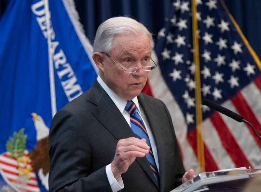 Attorney General Jeff Sessions outlines Trump administration policies as he speaks to new immigration judges, in Falls Church, Va., Monday, Sept. 10, 2018. Immigration judges work for the Justice Department and are not part of the Judicial branch of government.