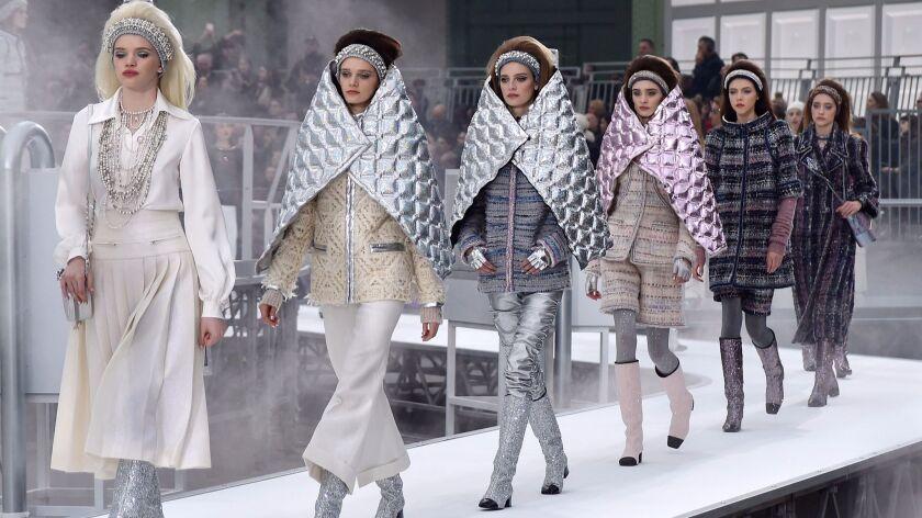 Mandatory Credit: Photo by WWD/REX/Shutterstock (8470559fc) Models on the catwalk Chanel show, Runwa
