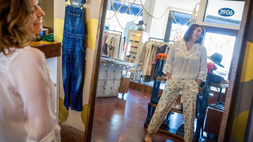 Emmy-nominated actress/writer/producer Rachel Bloom tries on clothes and poses for portraits at Buck & Doe in Los Angeles.