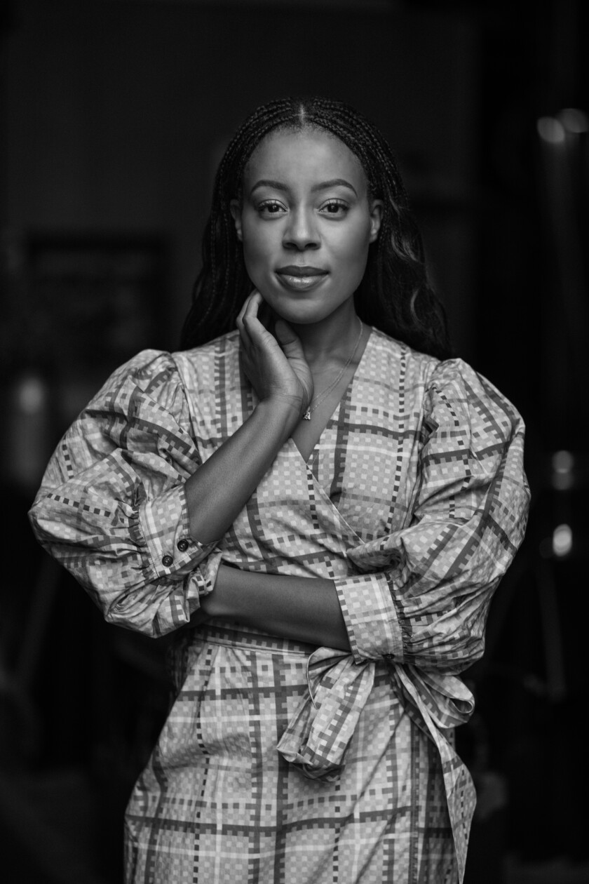 Black-and-white photo portrait of Alana Mayo.